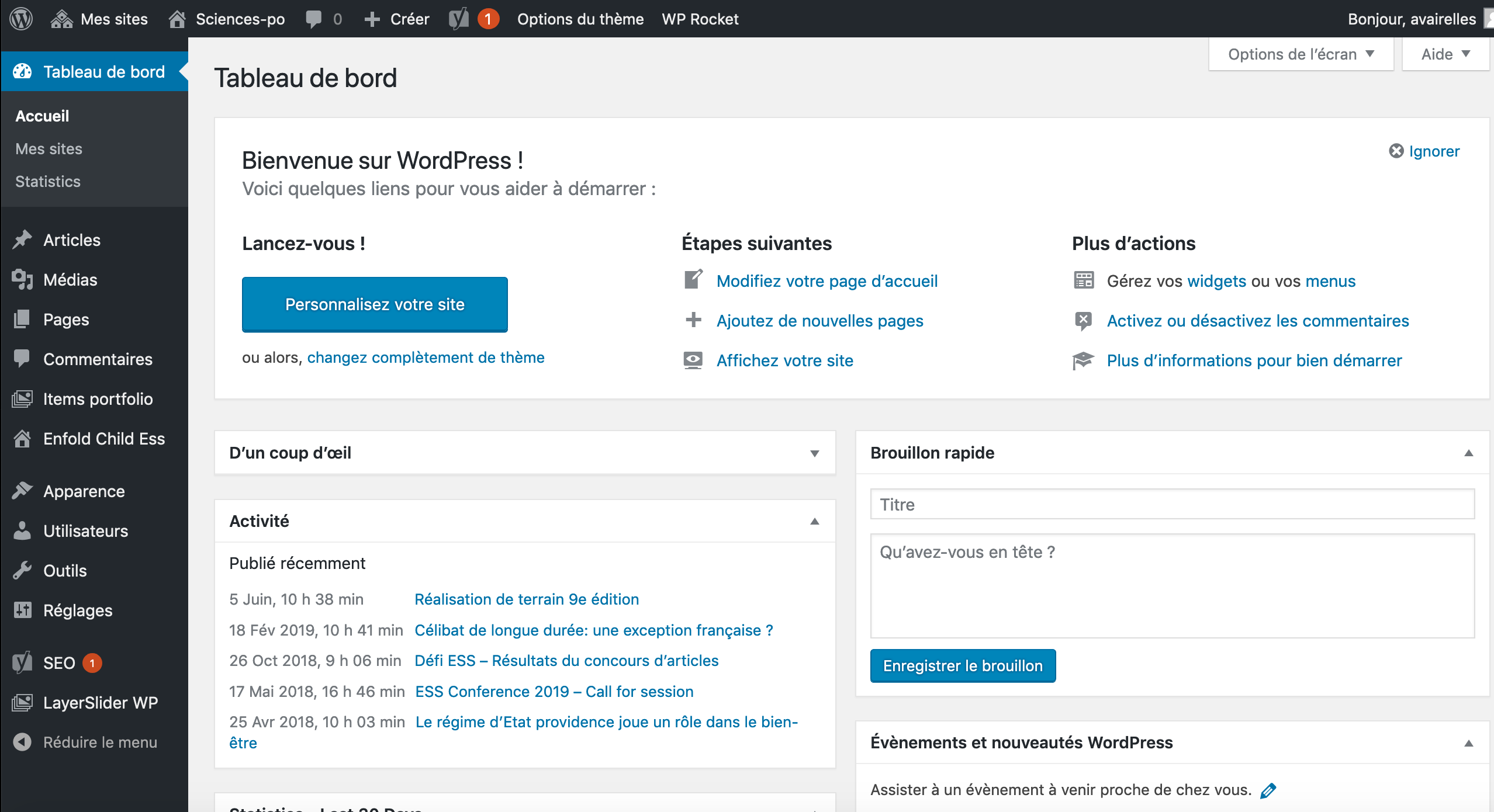 Back office du CMS Wordpress